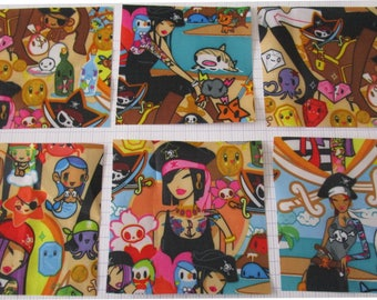 Fabric deco lot cut fabric pirate skull treasure colorful kawaii waterproof pvc 9.5 x 9.5
