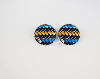 Bpucles d'oreilles puces, african fabric stud earrings, african earrings for women, fabric stud earrings, boucles d'oreilles en tissu wax