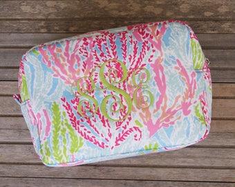 Monogrammed cosmetic bag, makeup bag, personalized makeup bag, toiletry bag, bridal gift