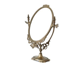 Art Nouveau mirror, standing brass mirror, gold oval mirror, makeup mirror, antique brass mirror