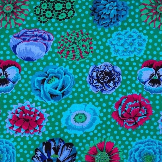 BIG BLOOMS Emerald GP91 Kaffe Fassett Sold in 1/2 yd increments
