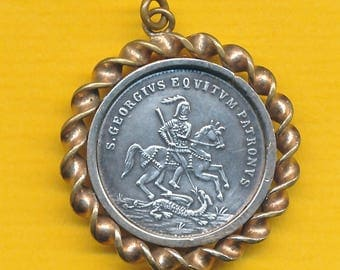 Antique French sterling silver and bronze Religious Medal St George slaying the dragon - St Georges charm pendant catholic medal (ref 1032)