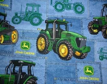 John Deere Fabric by the Yard / John Deere on Blue Jean looking fabric