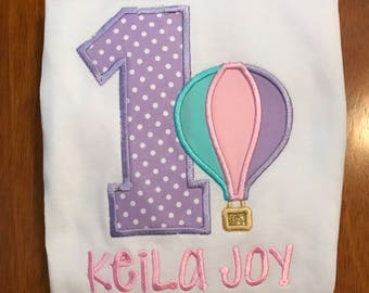 Lavender, Aqua, and Pink Hot Air Balloon Birthday Shirt or Baby Bodysuit
