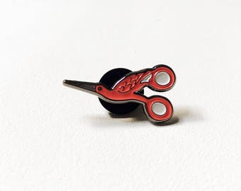 Stork Scissors Soft Enamel Pin! Mini!