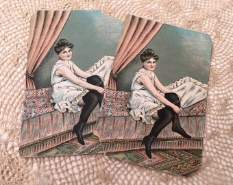 Pair of Vintage Postcards, lovely vintage lady in her boudoir!