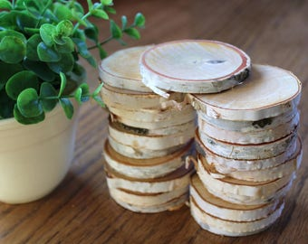 Wood slices etsy for White birch log crafts