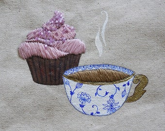 Cupcake+Coffee Hand-embroidered Wall Hanging