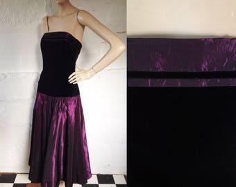 1980s 'Laura Ashley' Gothic Glamour Purple Taffeta Evening Dress with Velvet Bodice / Vintage Party Dress / SIZE UK 10