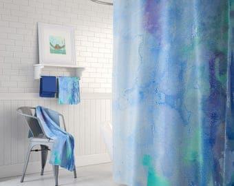 Blue Watercolor Curtain - Artistic, watercolor blue, indigo, aqua Abstract fabric shower curtain, extra long, custom