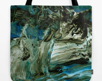Blue and Brown Tote Bag, Marble,  modern designer, marbled paint, abstract modern tote, gym bag, grocery tote, teacher gift