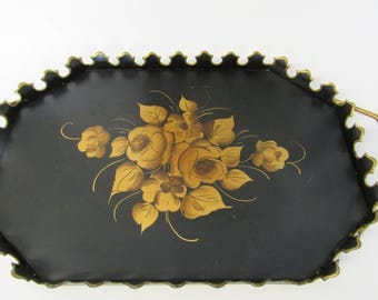 Beautiful Vintage Black and Gold Metal Tray