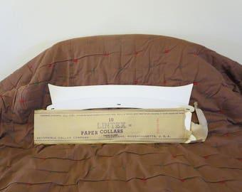 Vintage NOS Edwardian 1900s 1910s white collar Lintex stiff paper detachable reversible disposable size 16 1/2 unused unworn