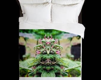 Leaf Duvet Cover, Bohemian Duvet Cover Purple Wonder Flower Cannabis Print,Duvet Cover Floral, Leaf Bedding,Hippy Decor, Duvet Cover Queen