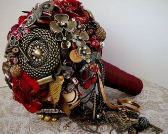Steampunk red, gold metallic brides bouquet
