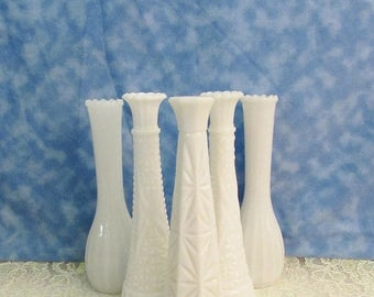 SALE Vintage Milk Glass Bud Vase Lot, Instant Bud Vase Collection, Wedding Milk Glass Bud Vases