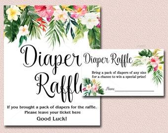 Tropical Baby Shower Diaper Raffle Card & Sign, Hawaiian Luau Baby Shower Invitation insert - diaper raffle ticket, INSTANT DOWNLOAD 040