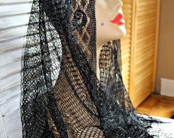 Vintage. Black. Shawl. Scarf. Crochet. Silky. Fringe. Very cute scarf! Triangle shape.