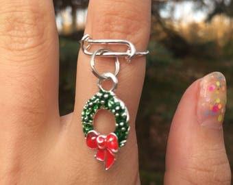 CHRISTMAS WREATH RING, Christmas ring, christmas jewelry, wreath ring, Christmas wreath, holiday ring, holiday jewelry
