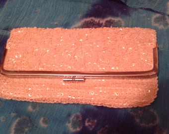 White satin sequin and bead clutch