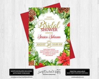 Christmas Bridal Shower Invitation Wedding Holiday Green and Red Printable Digital File or Prints with Free Shipping Holly Poinsettia