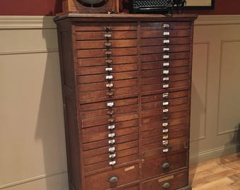 GORGEOUS***** Antique Apothecary Multi -Drawer Wood Cabinet*** Hardware Store Cabinet // Office Cabinet// Craft room