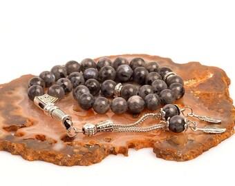 Labradorite Stone Islamic Prayer 33 beads Tasbih Misbaha - Rosary- Tasbeeh (8mm