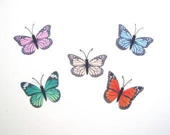 5 Pcs Monarch Butterfly Hair Clip,Hair Pins,Silk Fabric Butterfly Brooch,Girls Women Hair Accessories,Wedding Bridal Bridesmaids Headpiece