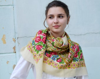 Vintage Ukrainian shawl, Russian Floral Scarf ,russian shawl, floral scarf, head scarf, natural white wedding shawl, Mother's Day gift