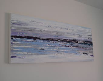 """Original Large Abstract Modern Textured Acrylic Landscape Palette Knife Painting on Box Canvas, Ready to Hang canvas, home decor  40"""" x 16"""""""