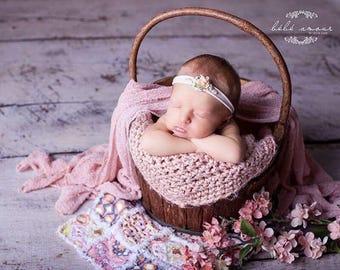 Light Peach Nylon Headband/Newborn Prop/Infants/Lace Nylon Headband/Infant Headband on Soft Nylon Band/Peach Flower Headband W/Pearls & Lace