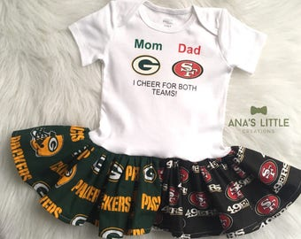Custom House Divided Bodysuit Dress ( 49ers-Packers) I Cheer For Both Teams