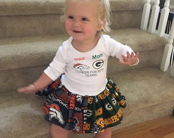 Custom House Divided Bodysuit Dress ( Packers - Broncos) I Cheer For Both Teams