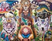 Large signed print visionary art Terra Gaia