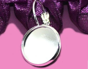 10 16mm cabochon silver Stud Earrings