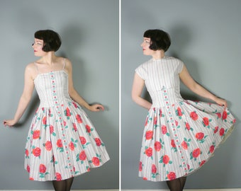 ROSE print 50s dress and bolero top - 2 piece 50s outfit - Mid Century FLORAL sun dress set - Small