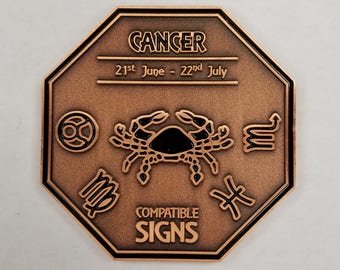 CANCER Zodiac Astrological Coin Antique Copper Finish