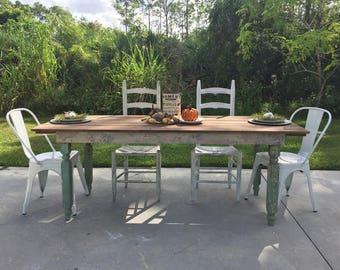 salvaged farmhouse table dinner table kitchen table style harvest table