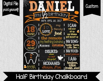 Halloween Half Birthday Chalkboard - Half Birthday Poster - Halloween 6 Month Poster - Orange - Pumpkin Half Birthday - Pumpkin Chalkboard