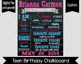 Teenage Girl Birthday Chalkboard Sign - Digital - 13th Birthday Chalkboard - Any age - Any Colors - Teenage Birthday Chalkboard