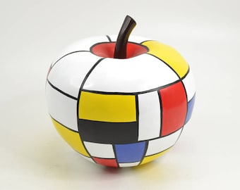 Sculpture of apple in resin, multicolored model. Height 11 inches / 28 cm, for modern decoration
