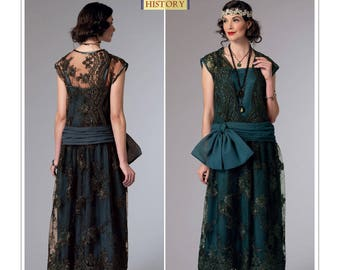Butterick B6399 Misses' Drop-Waist Dress with Oversized Bow (Downton Abbey) Style Dresses 1920s