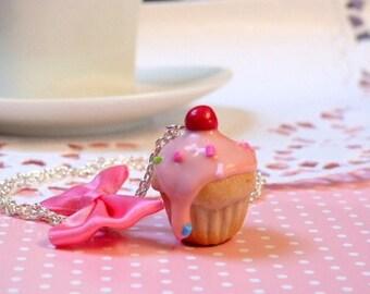 Pink large gourmet cupcake necklace