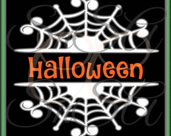 Halloween SVG Spider Web Trick or Treat Witch Hat Ghost Bat Spooky Tree Haunted House 1 2 Split Monogram Letter Candy Corn Vinyl Decal 2017.