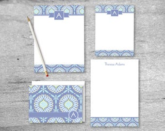Personal Stationery Set | Seaside Bloom Stationery Set - 2 Notepads, 8 Flat Card Notes & 8 Folded Cards and Envelopes