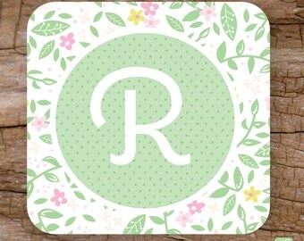 Flower Garden Personalized Coaster Set | Everyday Coasters | Available Personalized | Monogrammed Coaster Set