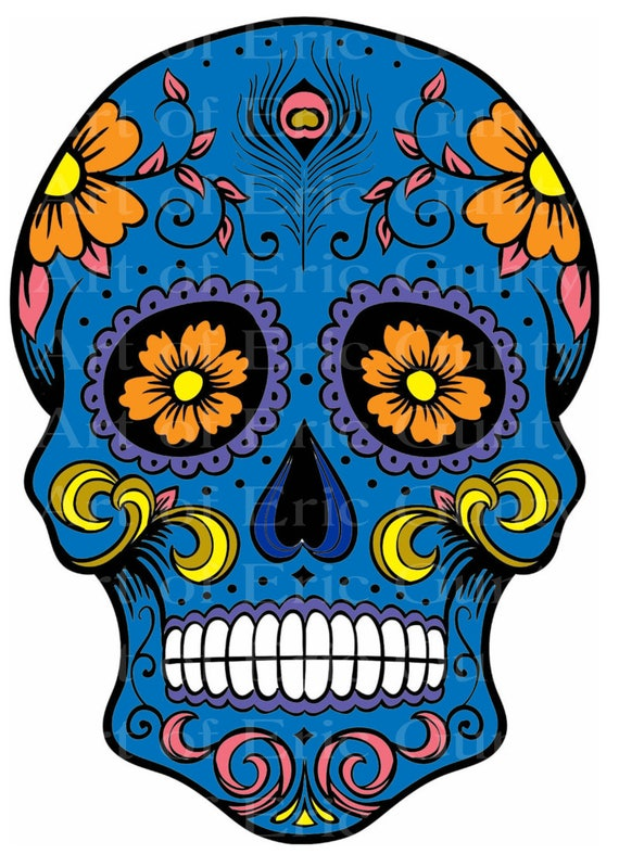 Blue Sugar Skull Halloween Birthday - Edible Cake and Cupcake Topper For Birthday's and Parties! - D22650