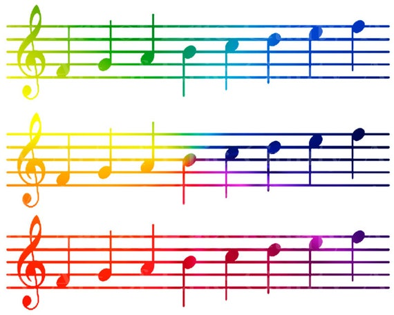 Rainbow Sheet Music Band Notes Birthday - Designer Strips - Edible Cake Side Toppers- Decorate The Sides of Your Cake! - D22685
