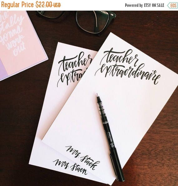 ON SALE Personalized stationery, set of two personalized notepads, Christmas gift for teachers, monogrammed stationery, gifts for her under