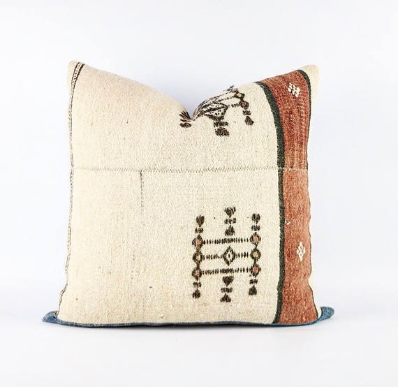 Vintage African Wool Fulani Embroidered Textile And Vintage African Indigo Pillow Cover 18x18